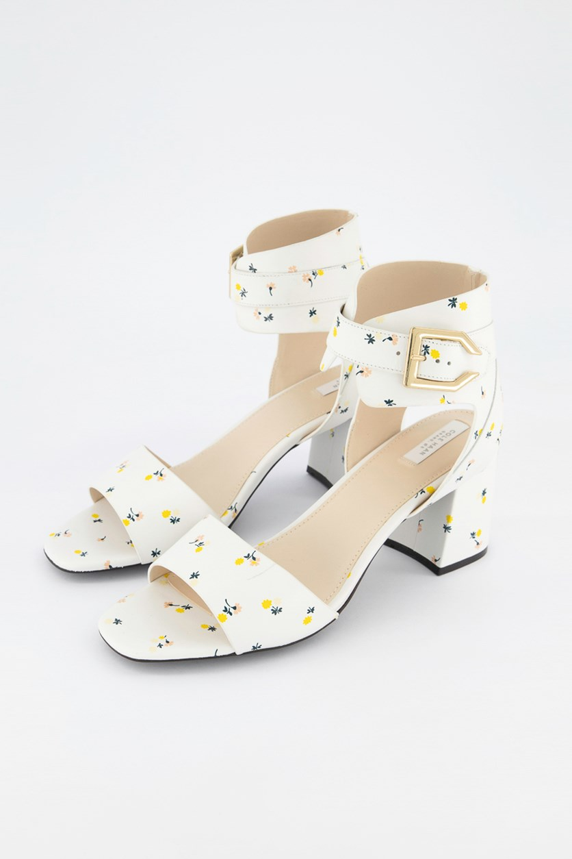 Avani Block-Heel Sandals, White Combo