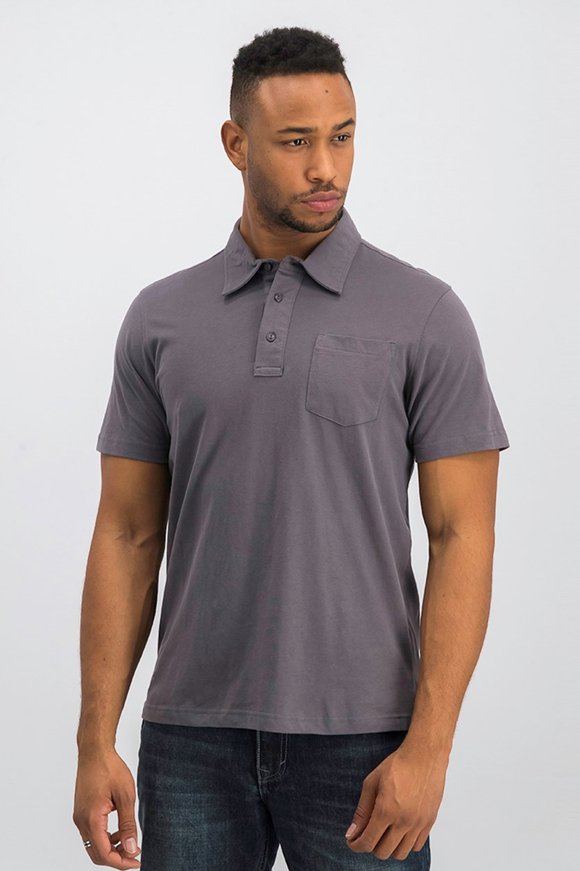 Men Short Sleeve Polo Shirts, Ashpalt