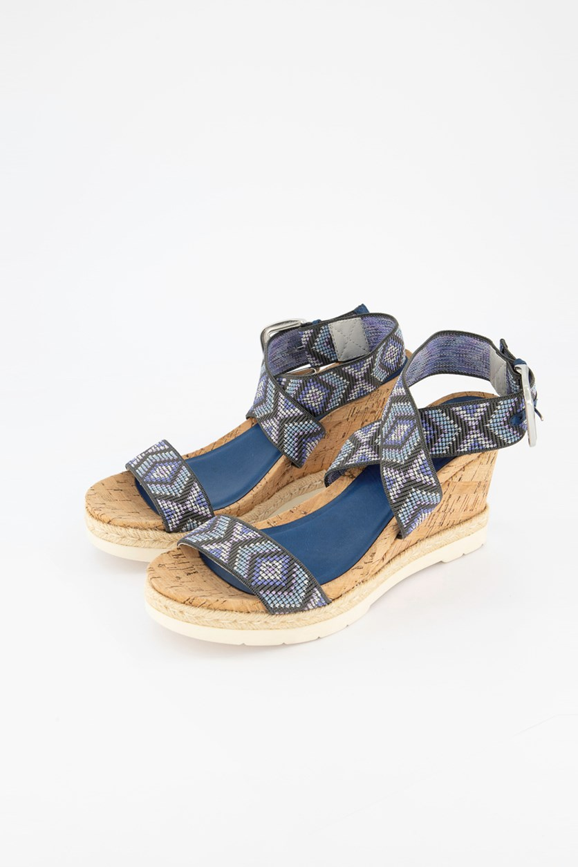 Pearl Flatform Wedge Sandals, Blue