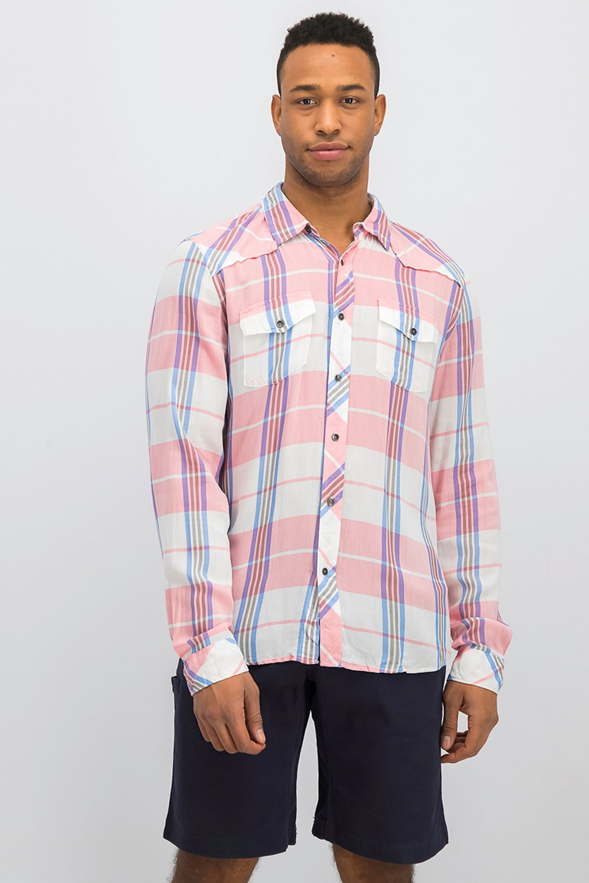 Men Plaid Shirt, Pink Combo