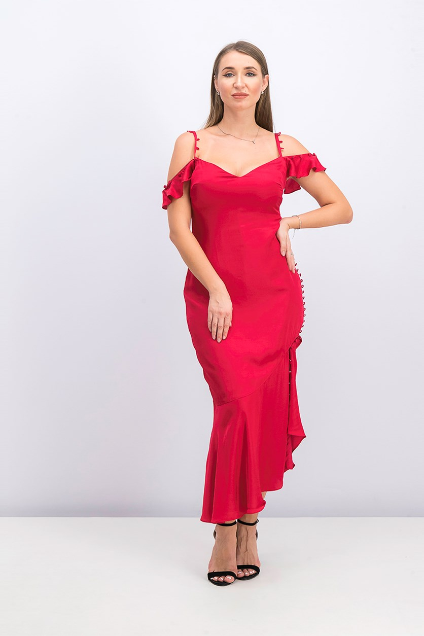 Women's Satin Kenslyn Dress, Jester Red