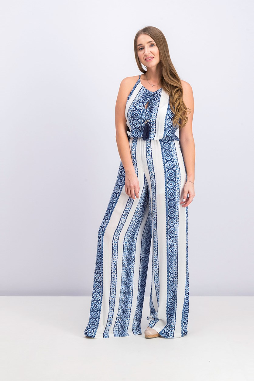 Women Stitched Up Jumpsuit, Blue/White Combo