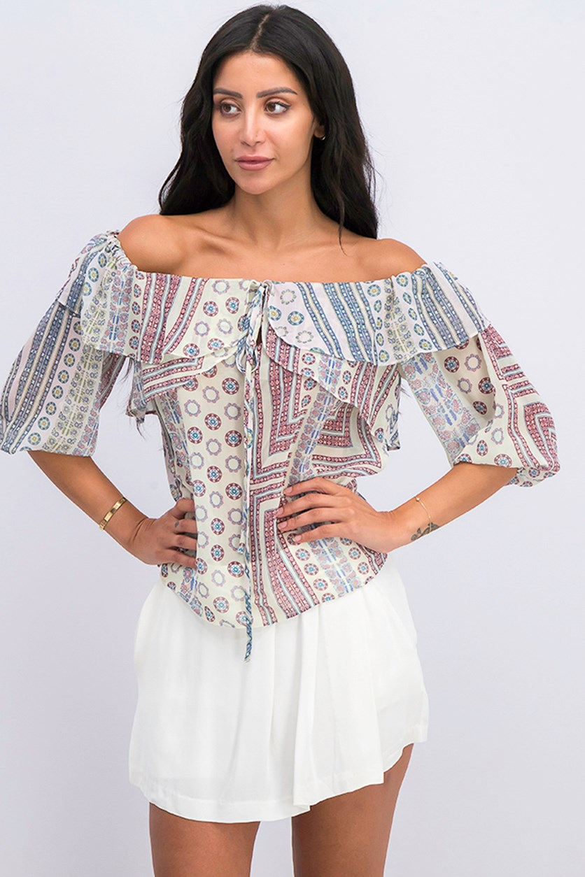Women's Off Shoulder Top, Beige/Blue/Pink Combo