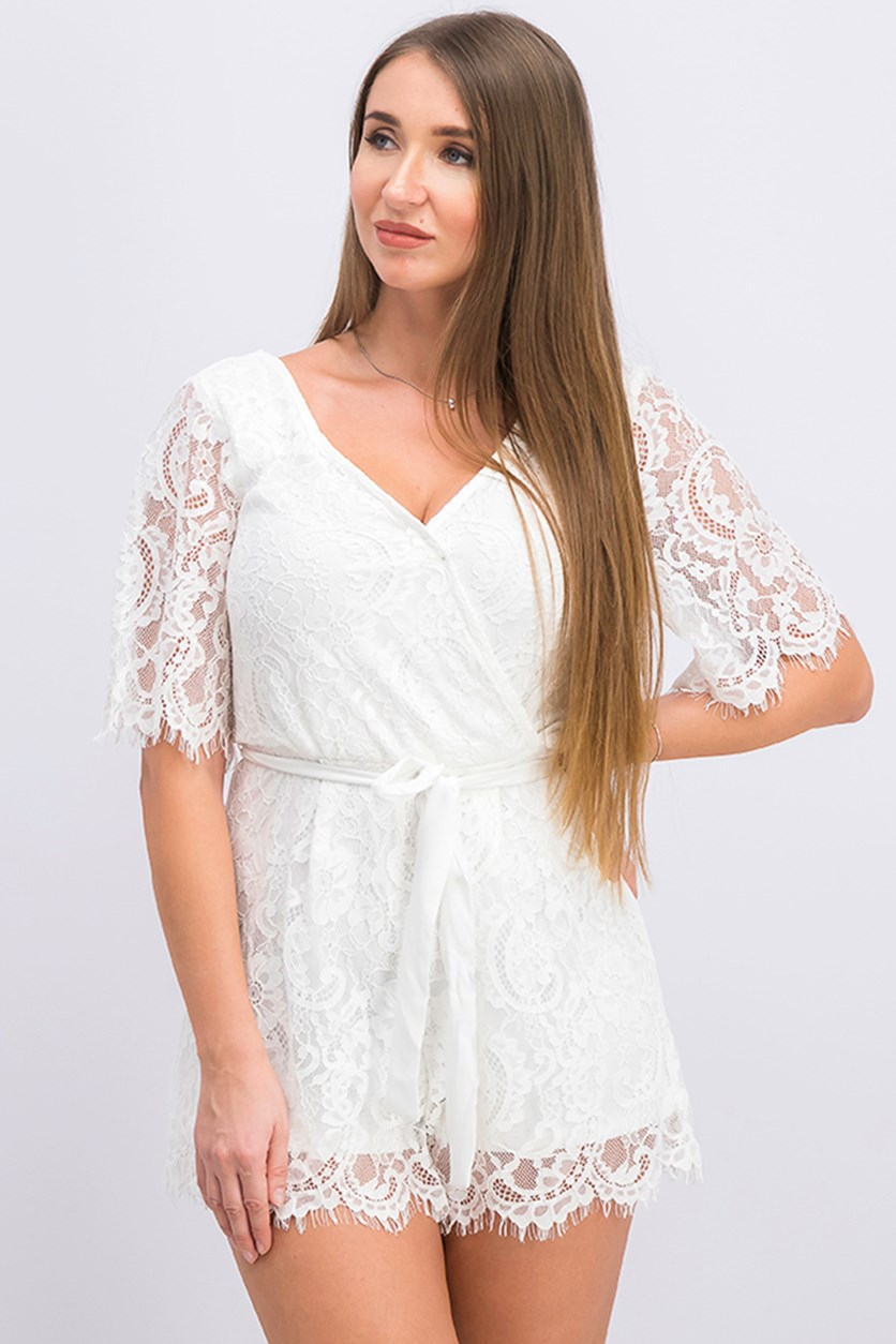 Juniors Trixxi Allover Lace Tie Back Romper, White