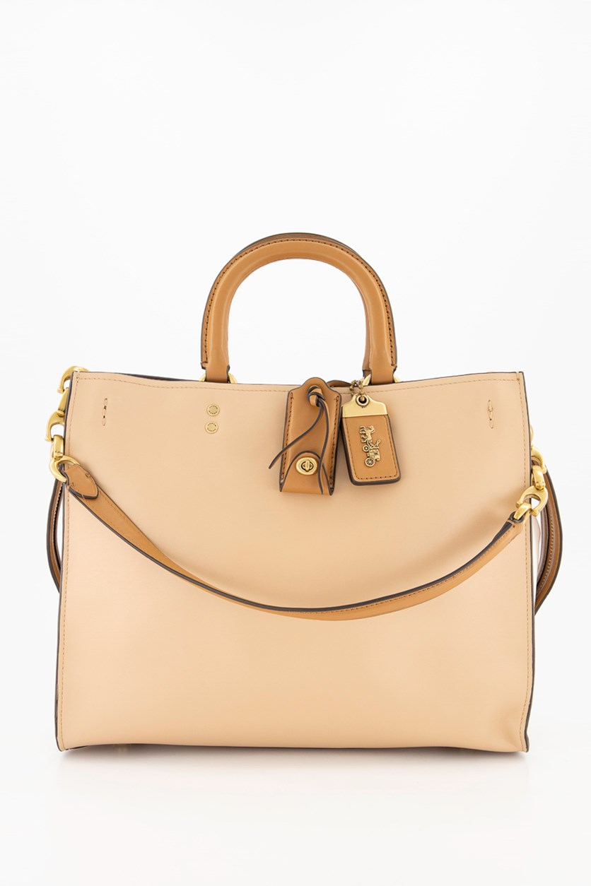 Women's Colorblock Smooth Leather Chain Rogue Bag, Beechwood