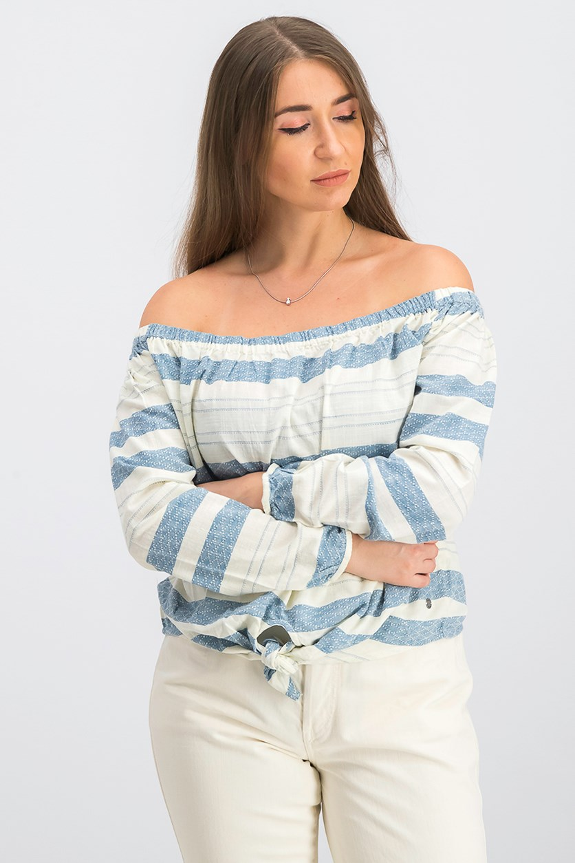 Women's Junior Off Shoulder Top, Ivory/Blue