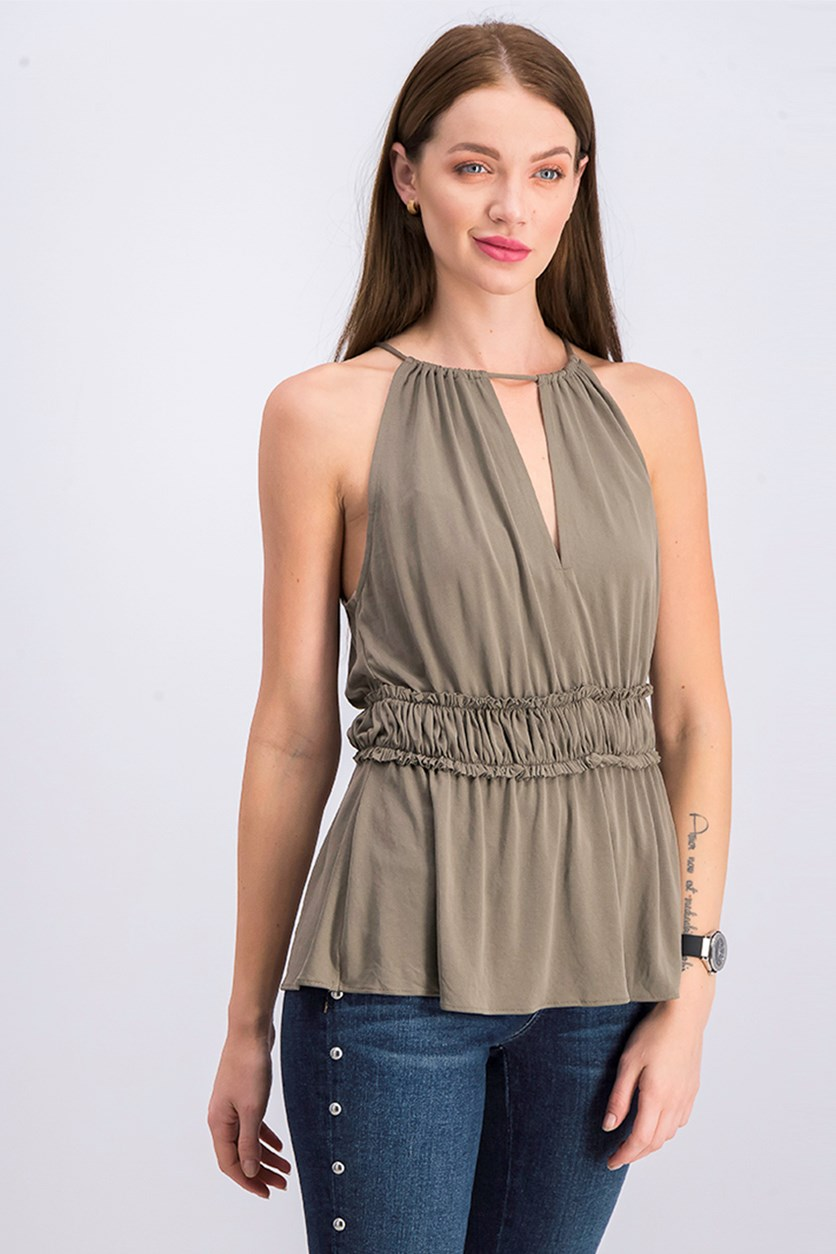 Women Shaney Top, Dark Olive Green