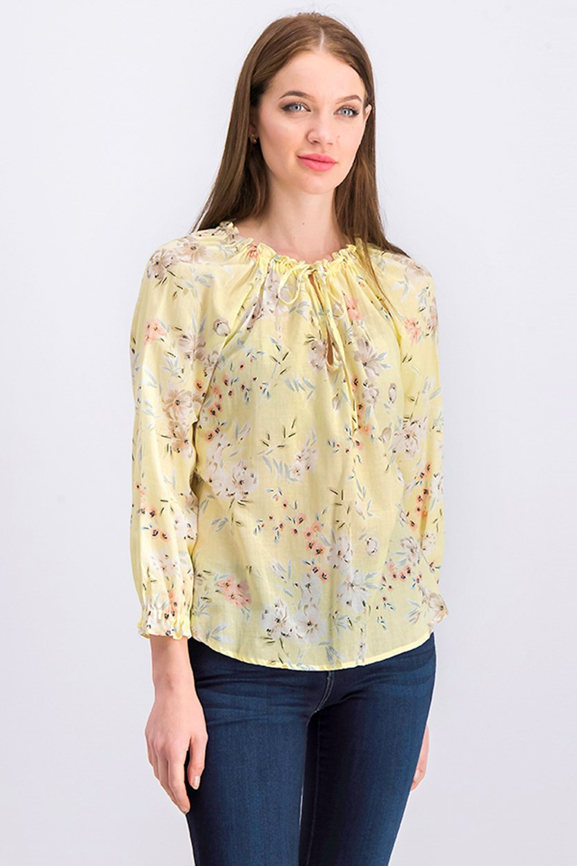 Women's Floral Printed Blouse, Yellow