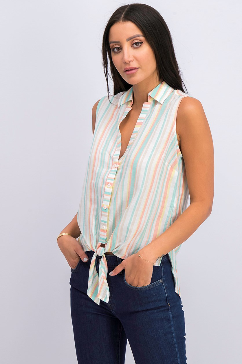 Cabana-Stripe Tie-Waist Sleeveless Shirt, White/Teal Combo