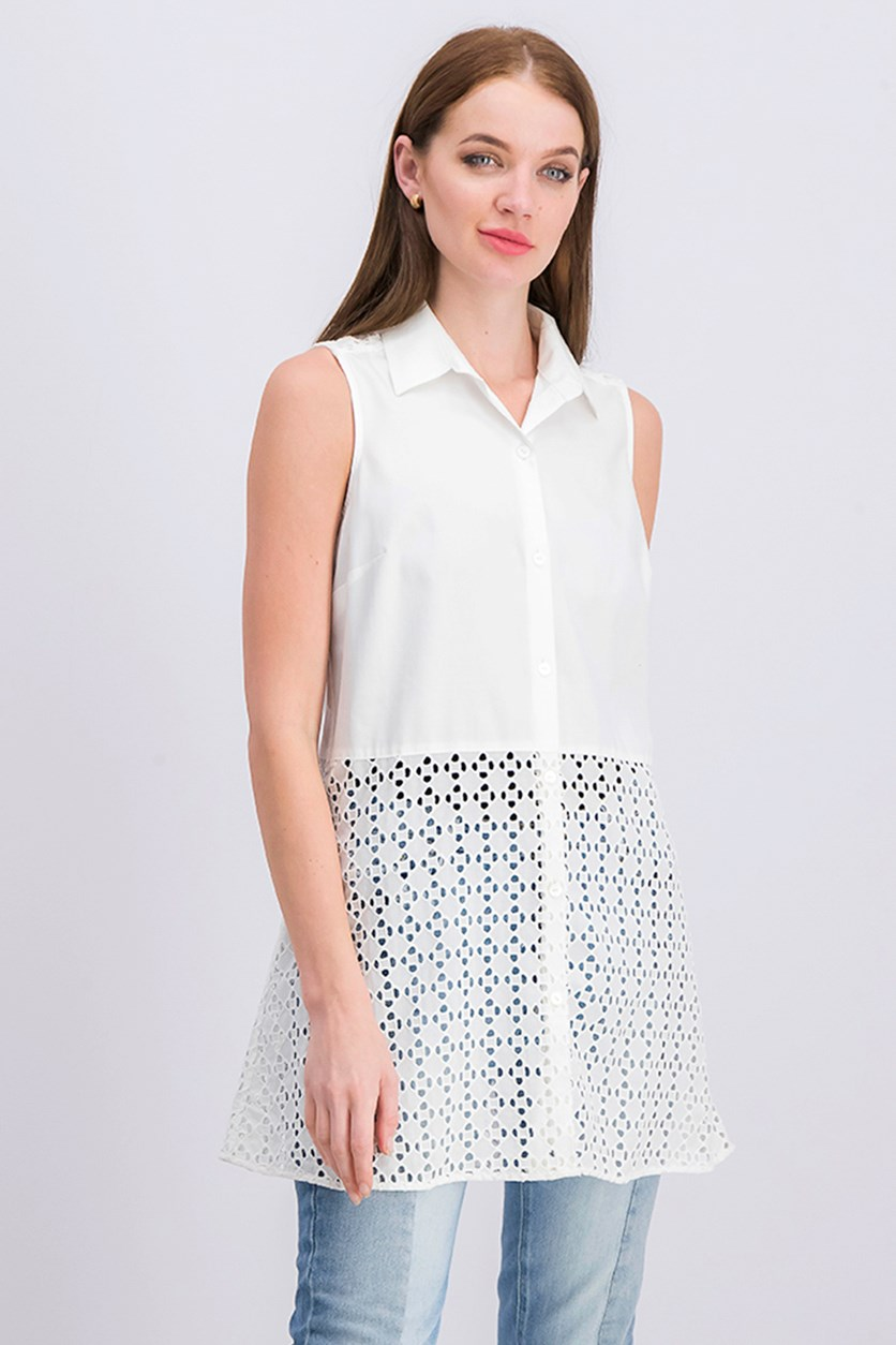 Eyelet Tunic Top, White