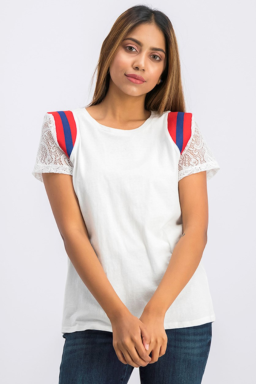Womens Lace Sleeve Basic T-Shirt, White