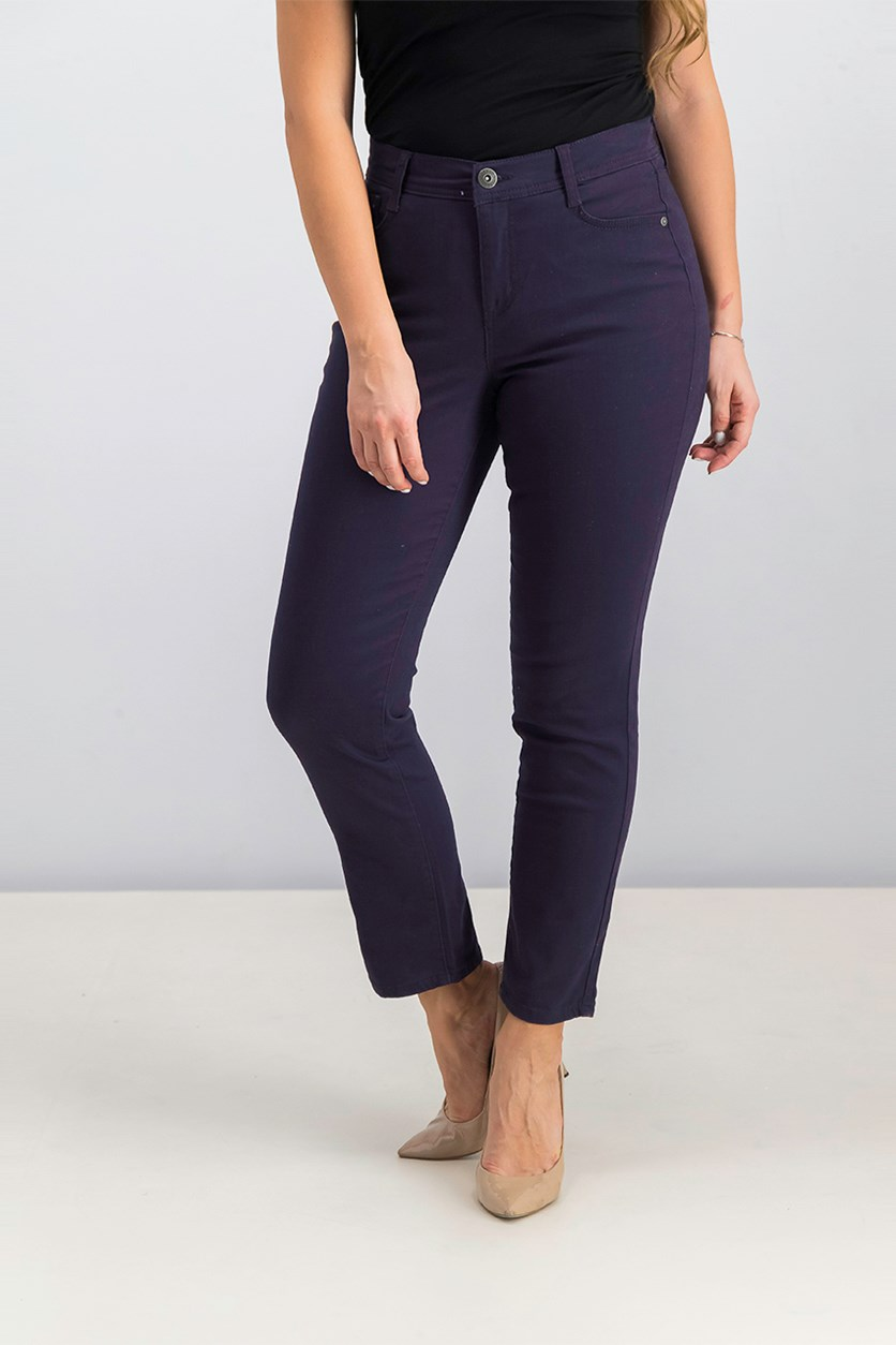 Petite Tummy-Control Slim-Leg Jeans, Dark Grape