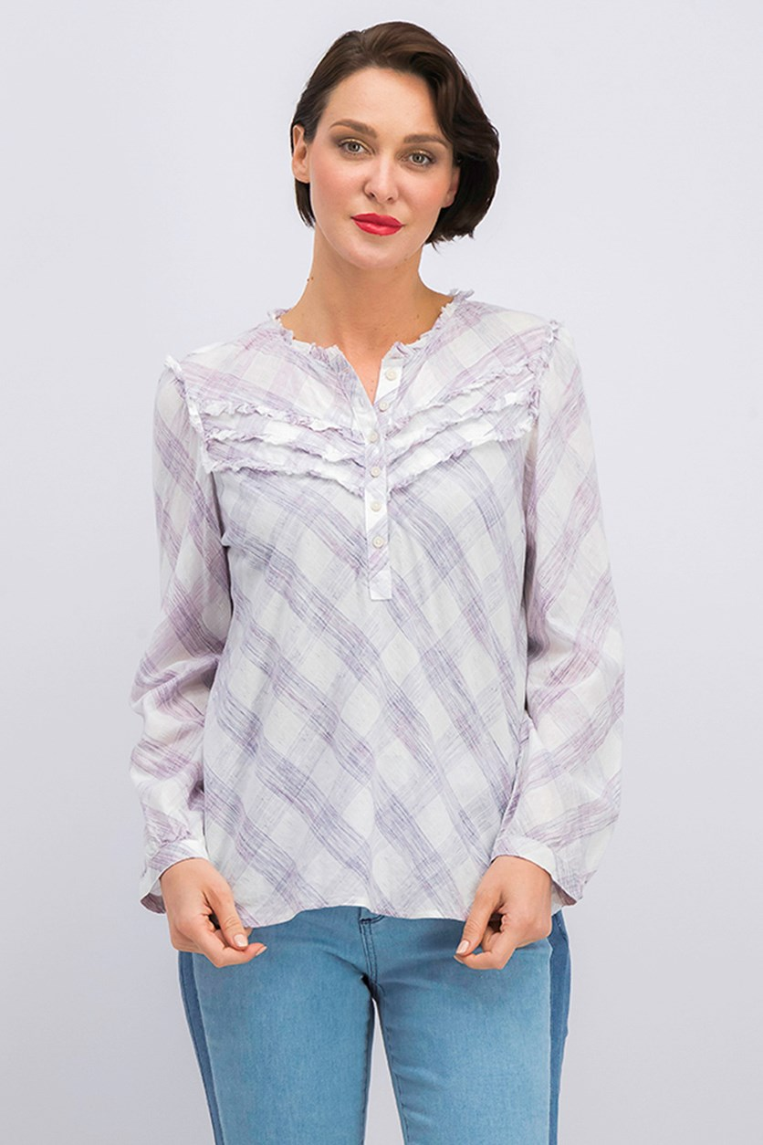 Talya Cotton Ruffled Top, Marshmallow Combo