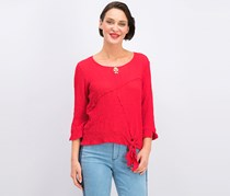 Alfred Dunner Keyhole Tie-Front Blouse, Red