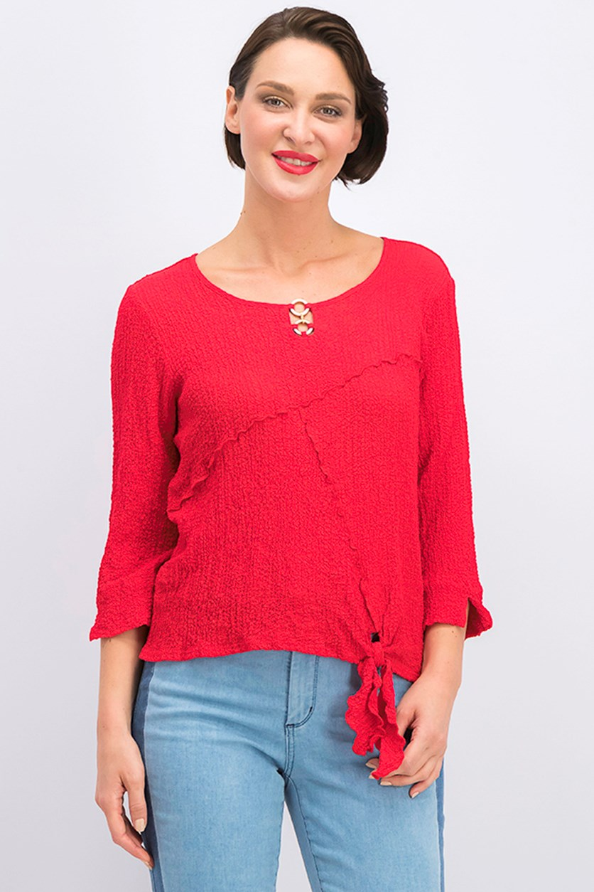 Keyhole Tie-Front Blouse, Red