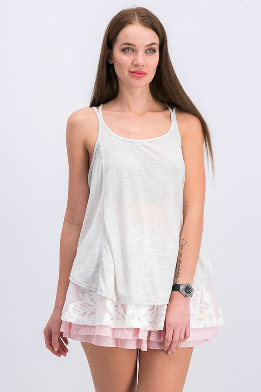 Racerback Split-Hem Tank Top, Optic Heather