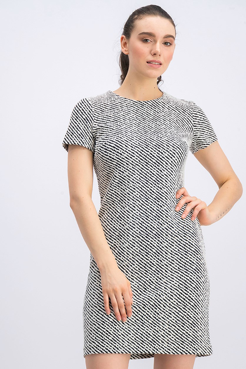 Women's Textured Dress, Ivory/Black