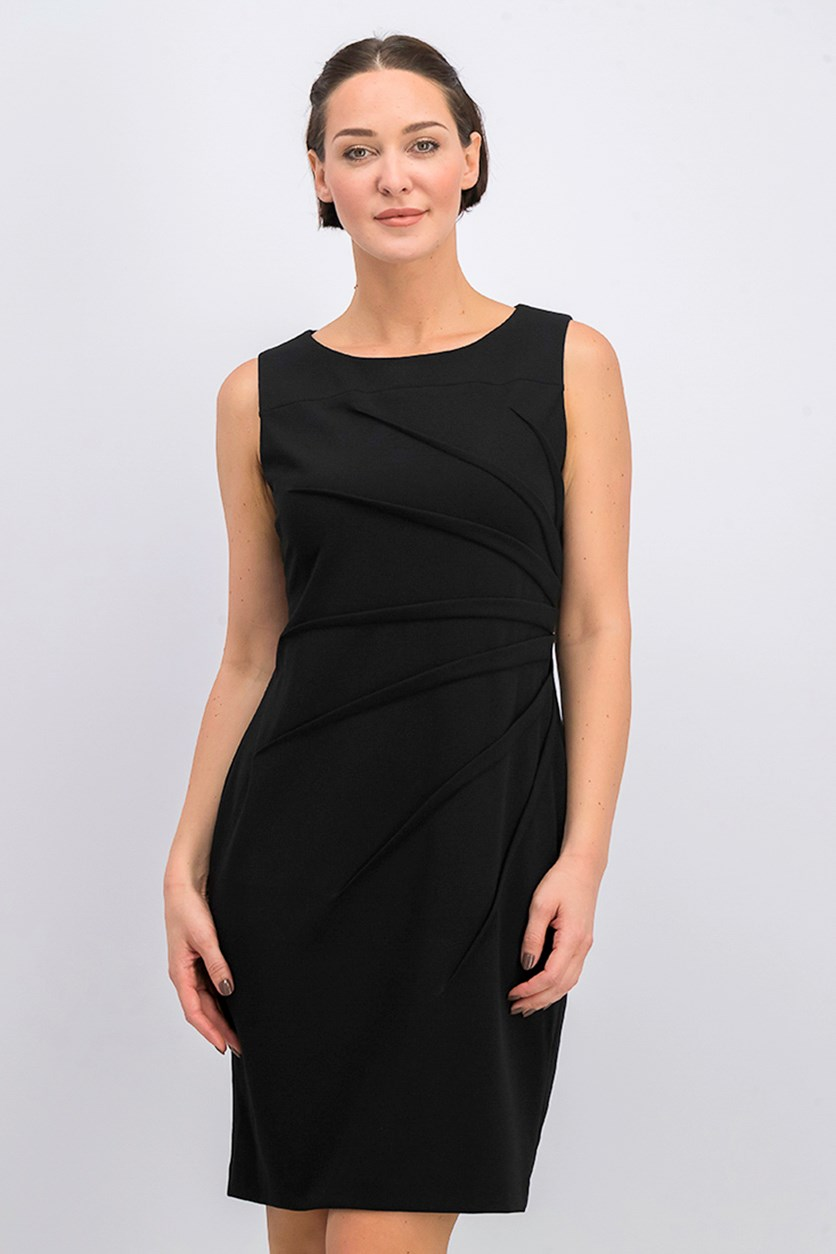 Sleeveless Starburst Scuba Crepe Sheath Dress, Black