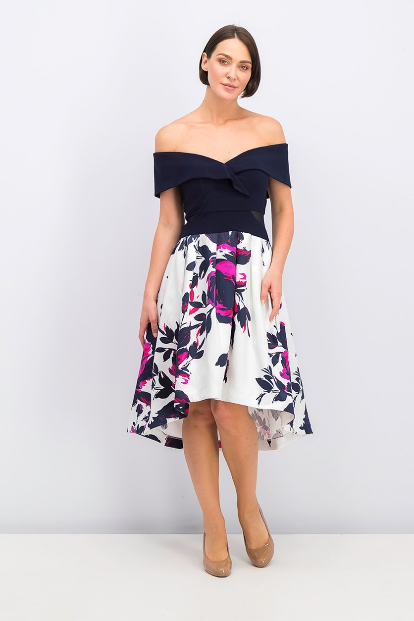 Women Petite Off-The-Shoulder Floral Dress, Navy/White Combo