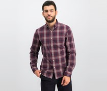 Michael Kors Men's Abner Plaid Slim Fit Shirt, Cordovan