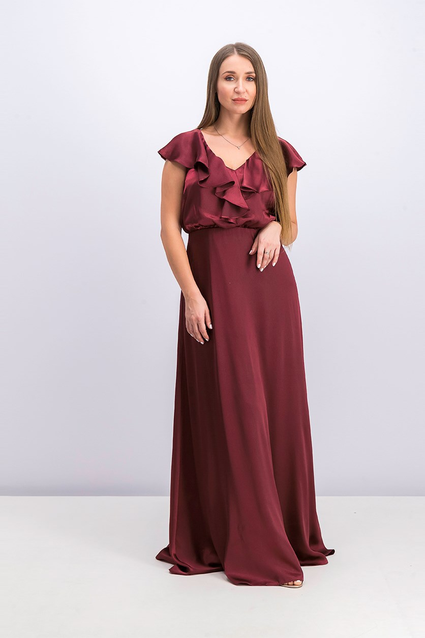 Women's Ruffled Gown, Burgundy