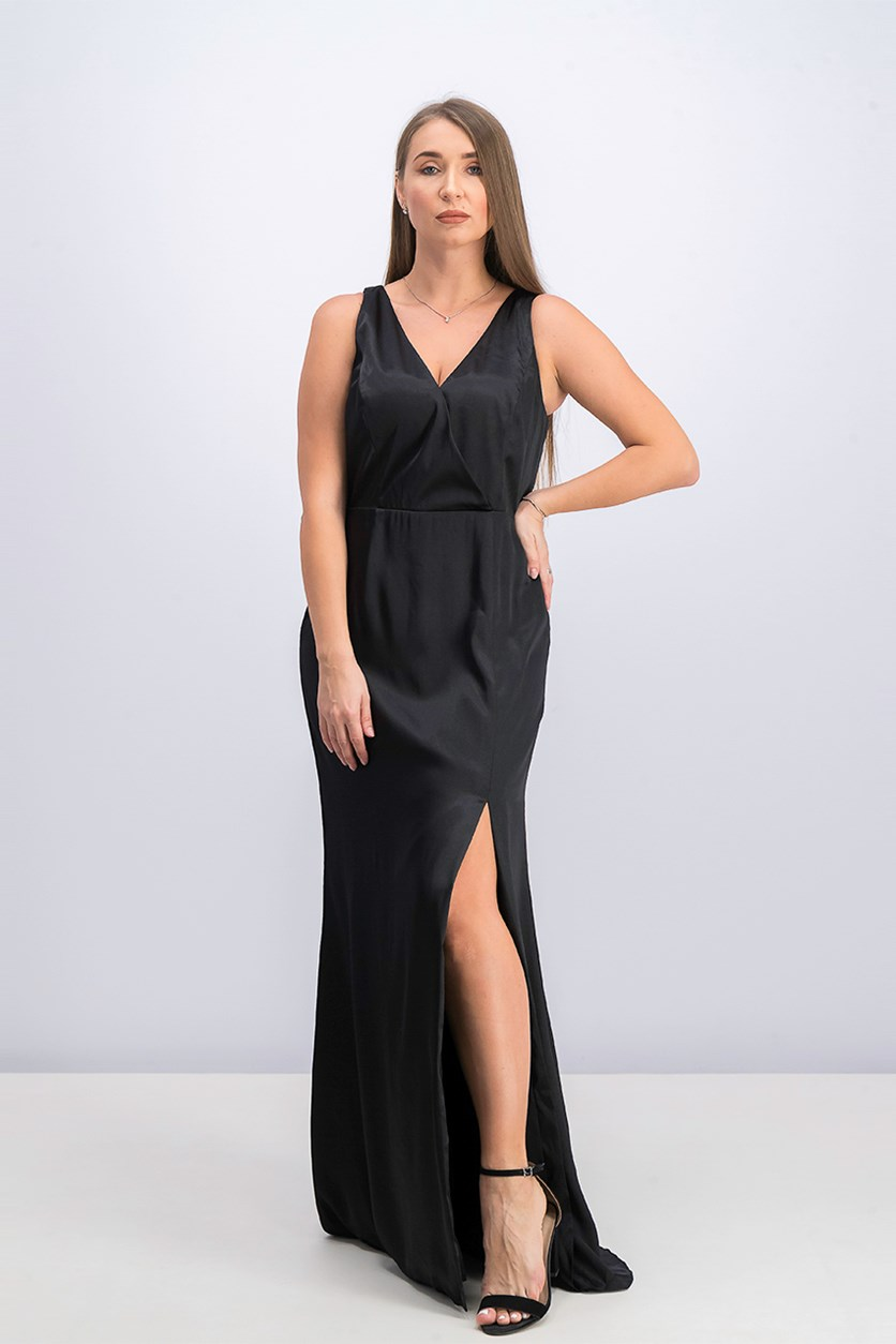 V-Neck Satin Slit Gown, Black