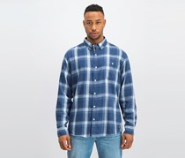Vintage Men's Burnout Plaid Flannel Shirt, Admiral