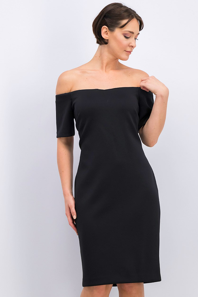 Scuba Sheath Dress, Black