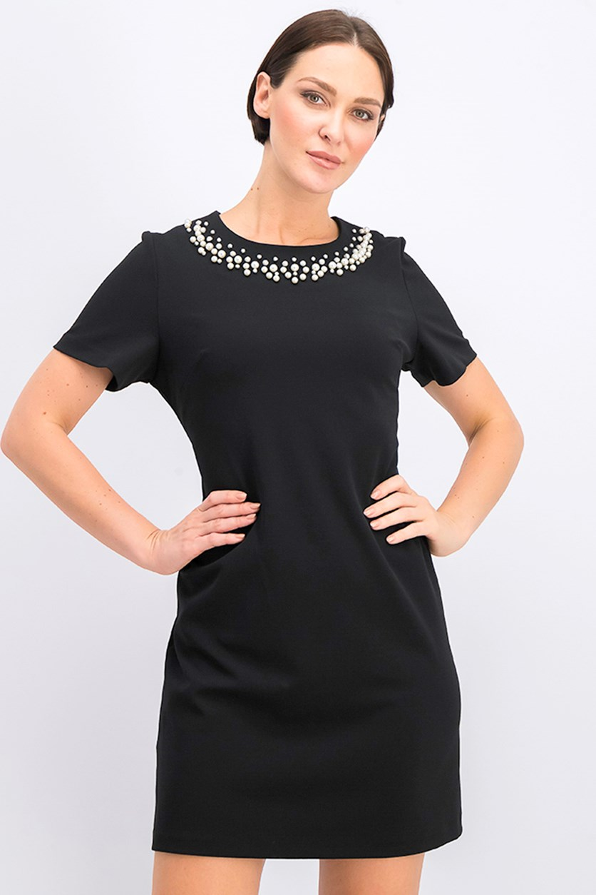 Jewel Embellished Neck Scuba Crepe A-Line Dress, Black