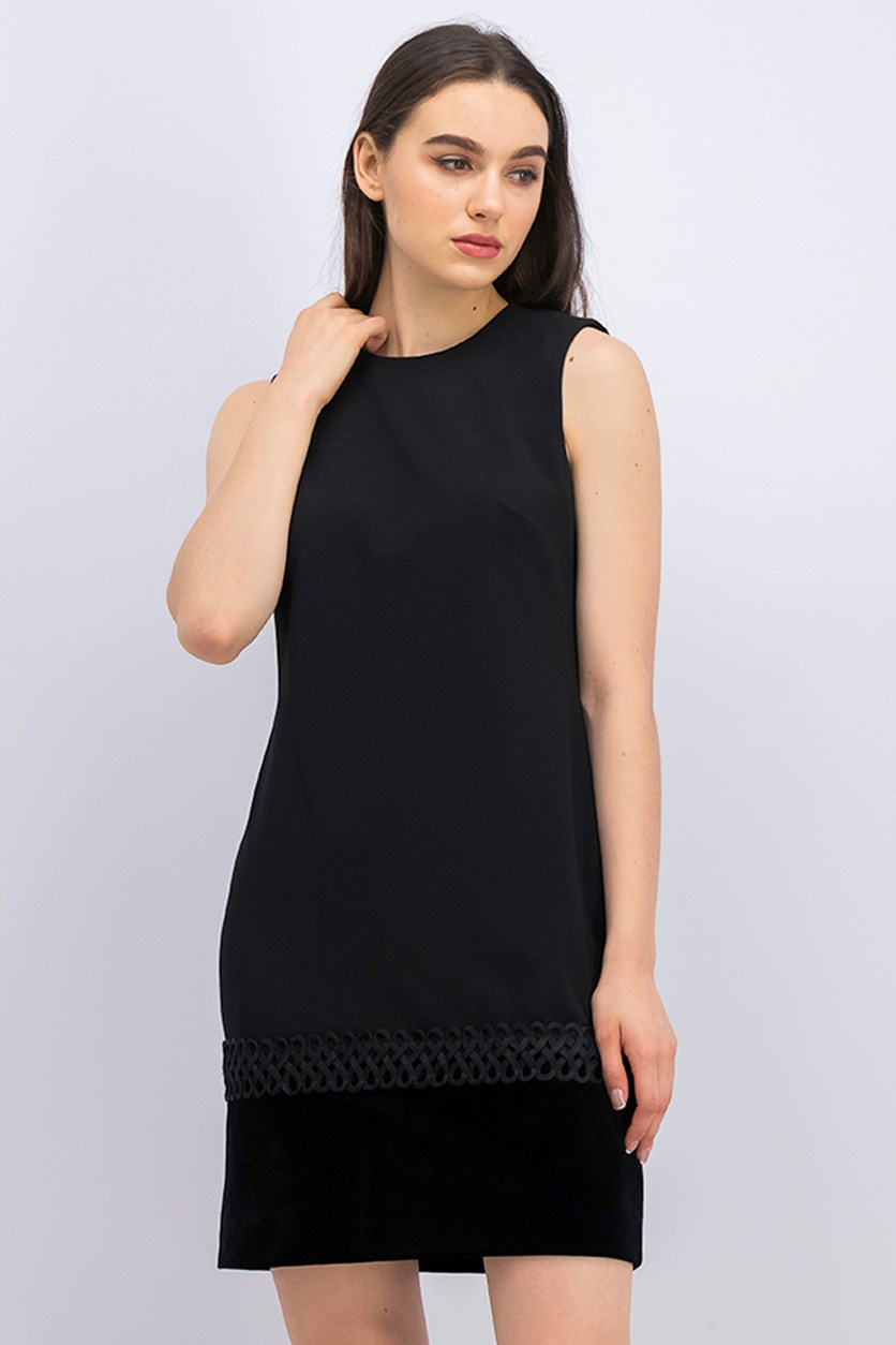 Velvet-Trim Shift Dress, Black