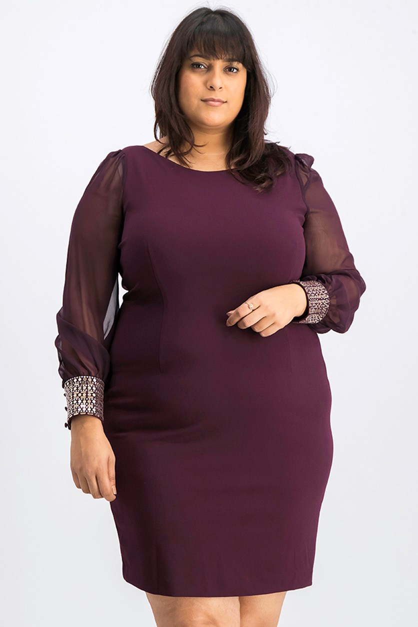 Women Embellished-Cuff Sheath Dress, Violet