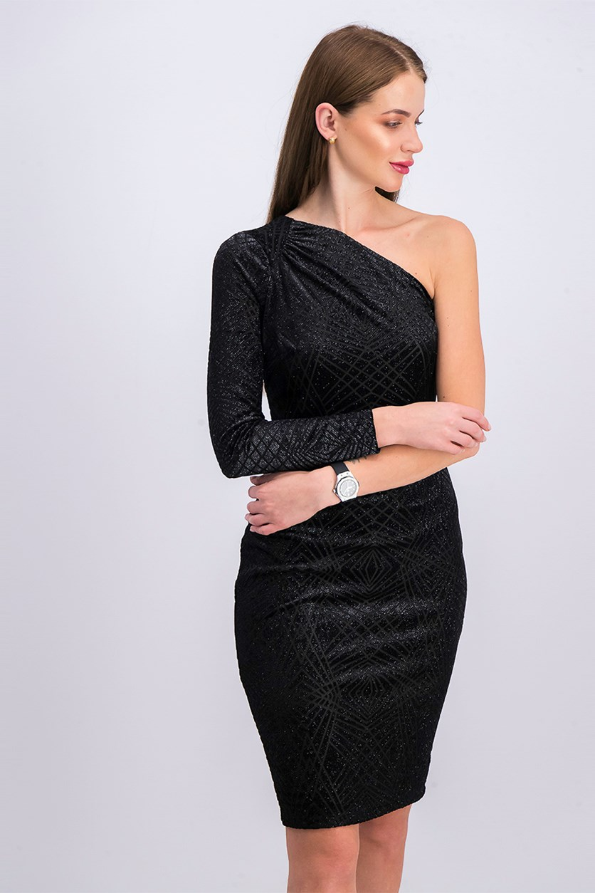 Glitter One-Shoulder Dress, Black
