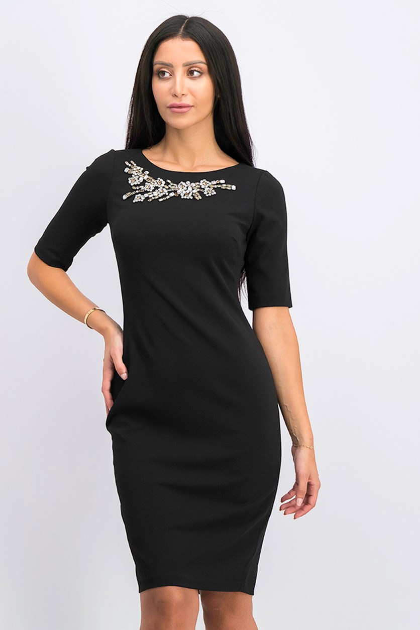Rhinestone Sheath Dress, Black