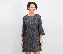 Calvin Klein Women's Bell Sleeve Jewel Neck Above the Knee Shift Cocktail Dress,  Gray Floral Print