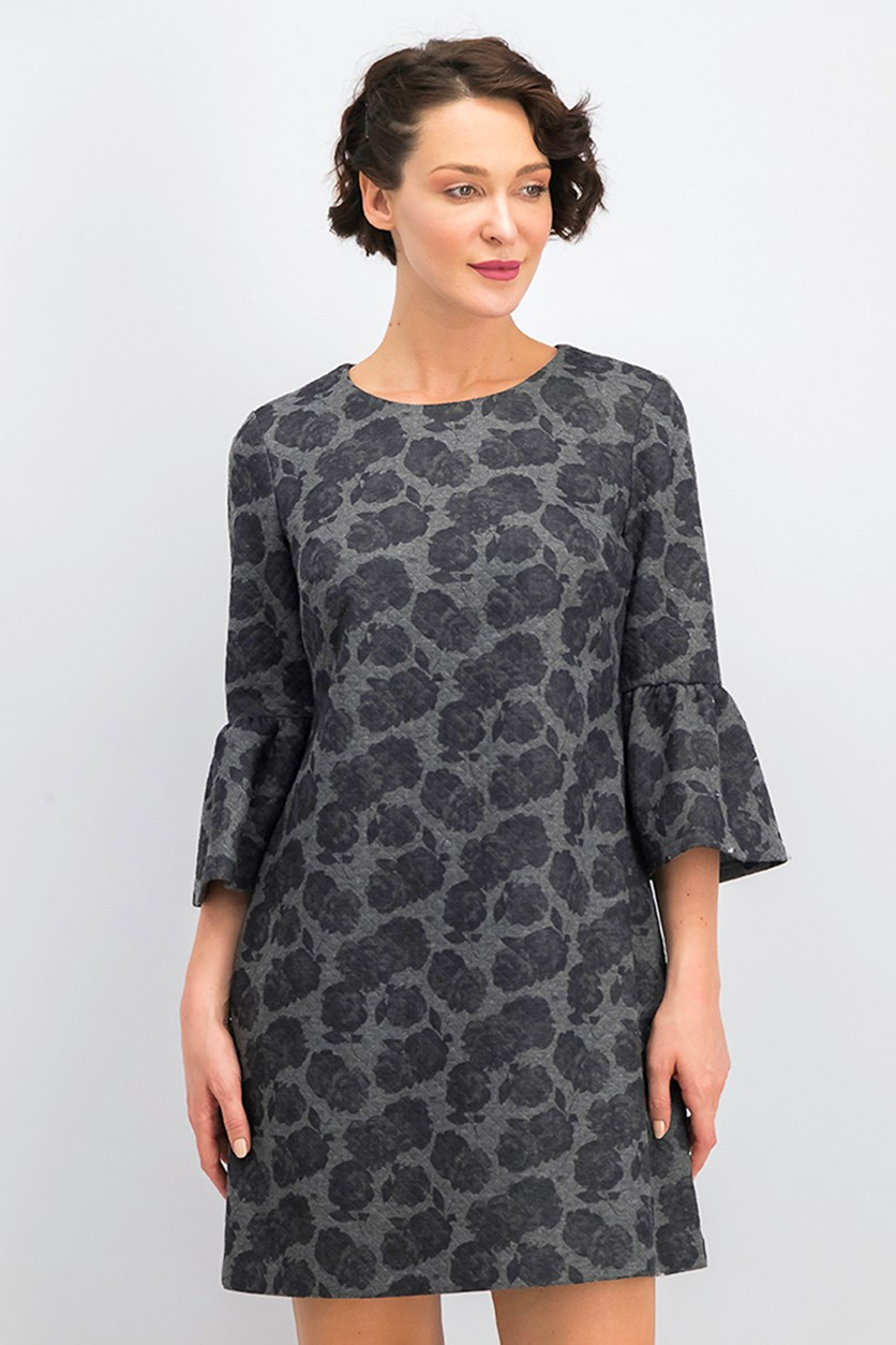Women's Bell Sleeve Jewel Neck Above the Knee Shift Cocktail Dress,  Gray Floral Print
