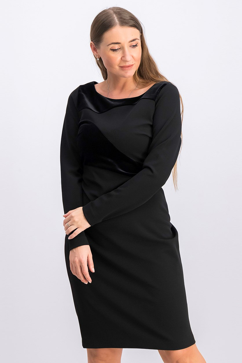 Long-Sleeve Velvet-Swirl Sheath Dress, Black