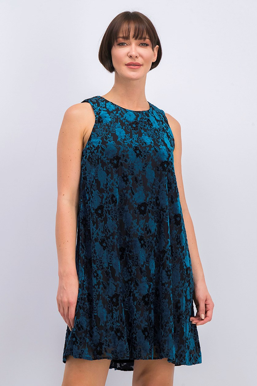 Women Burnout Velvet A-Line Dress, Black/Teal