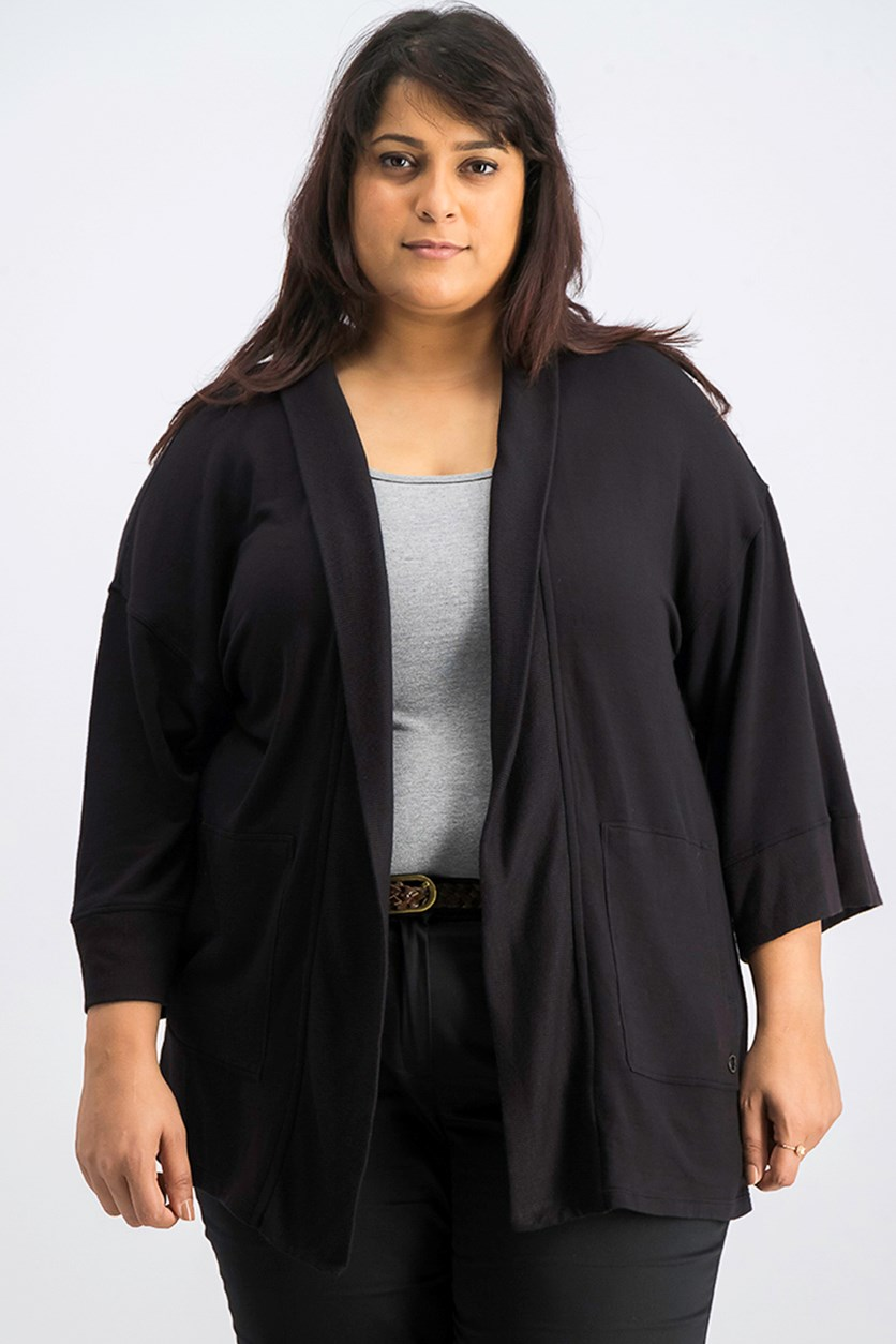 Women's Plus Size Relaxed Cardigan, Black