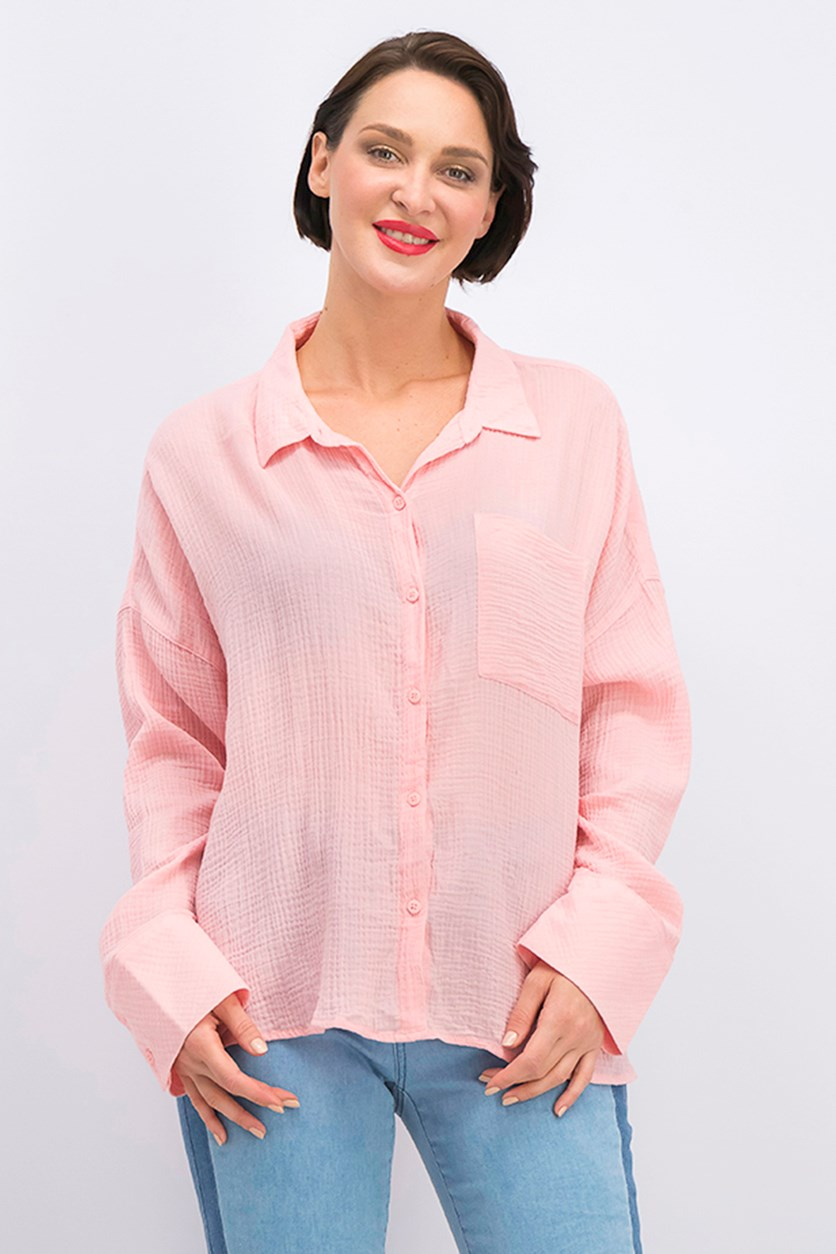 Mod Cotton Boyfriend Shirt, Flamingo