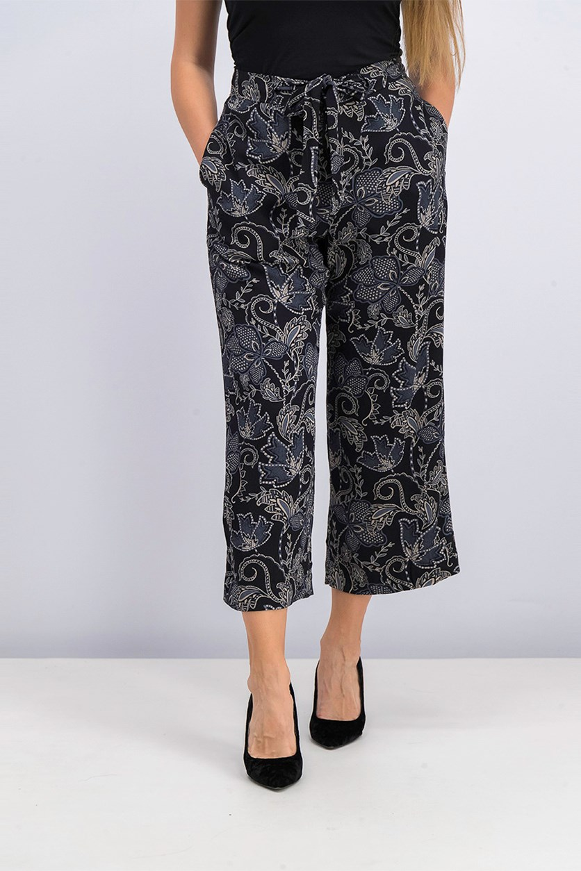 Women Cropped Wide-Leg Pants, Black Wild Flower Combo