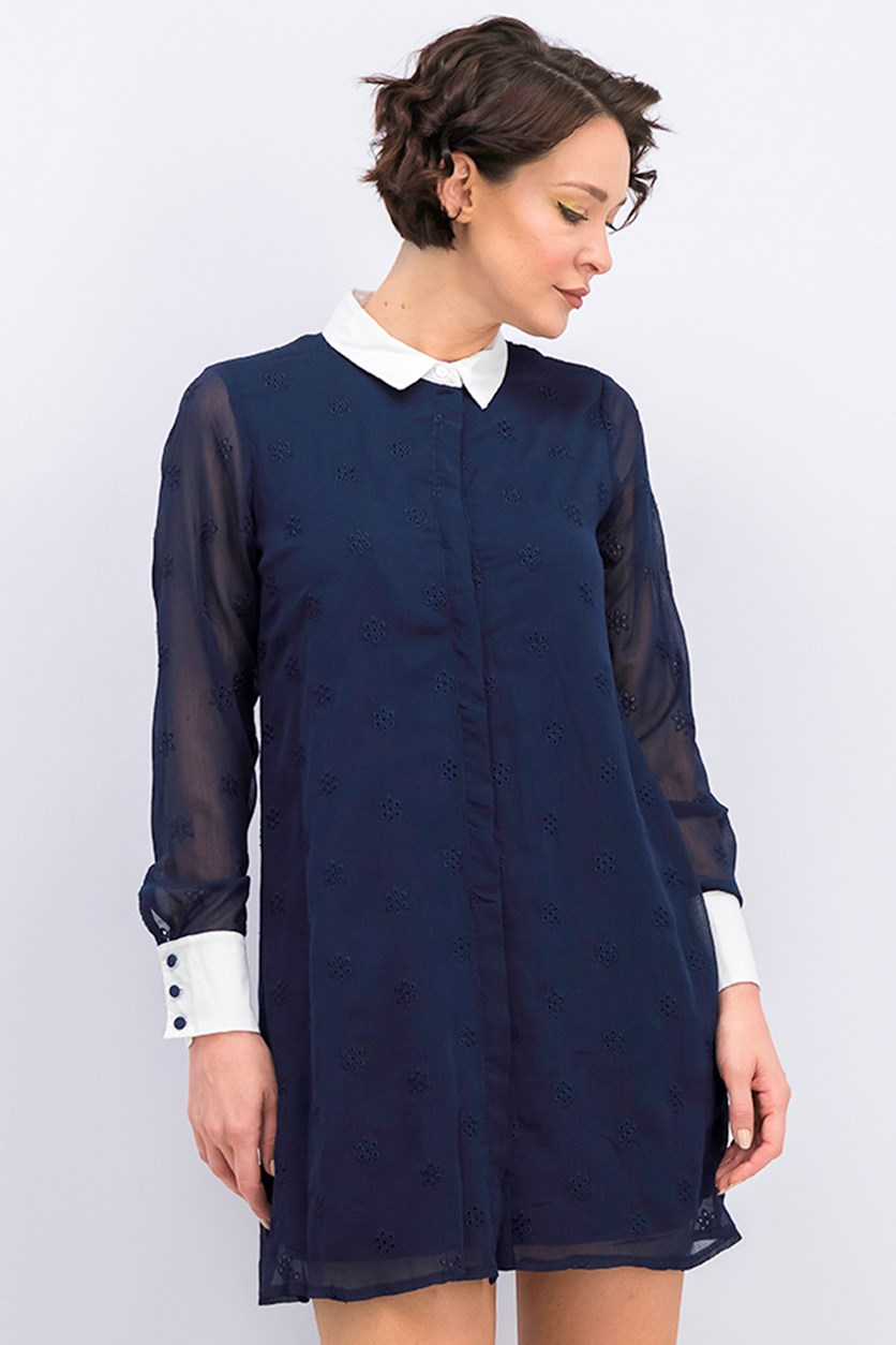 Eyelet Shirt Dress, Navy