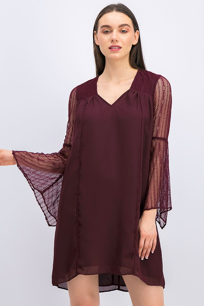 Bell Sleeve Shift Dress, Plum