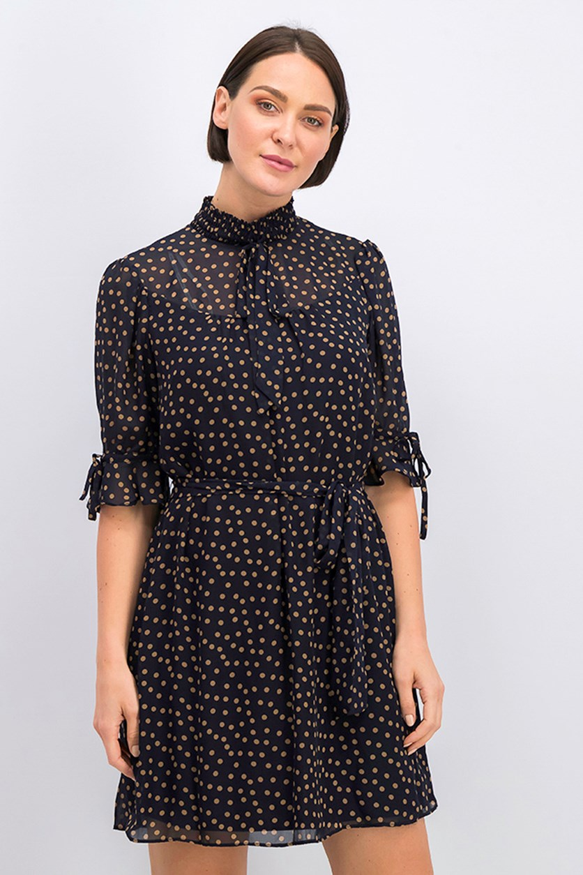 Women's Mock Neck Chiffon Polka Dot Mini Dress, Navy