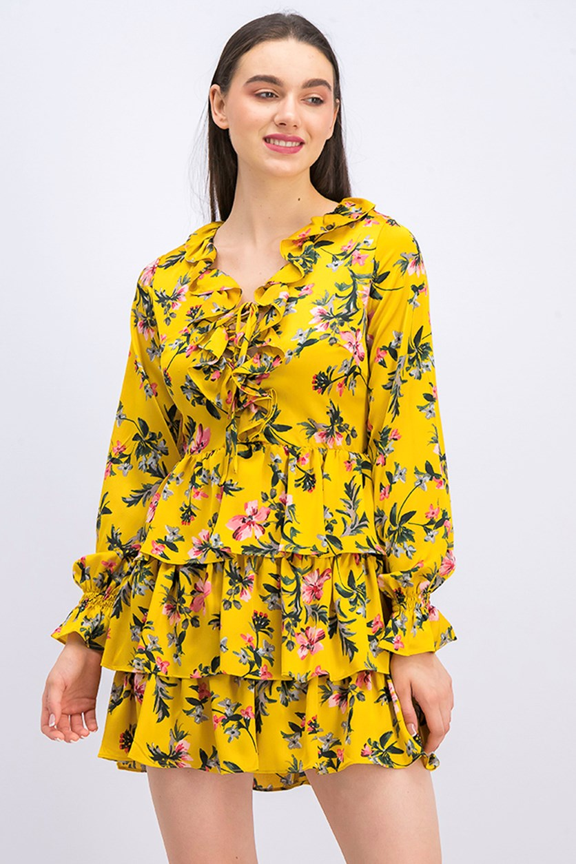 Floral Ruffle Dress,  Marigold Combo