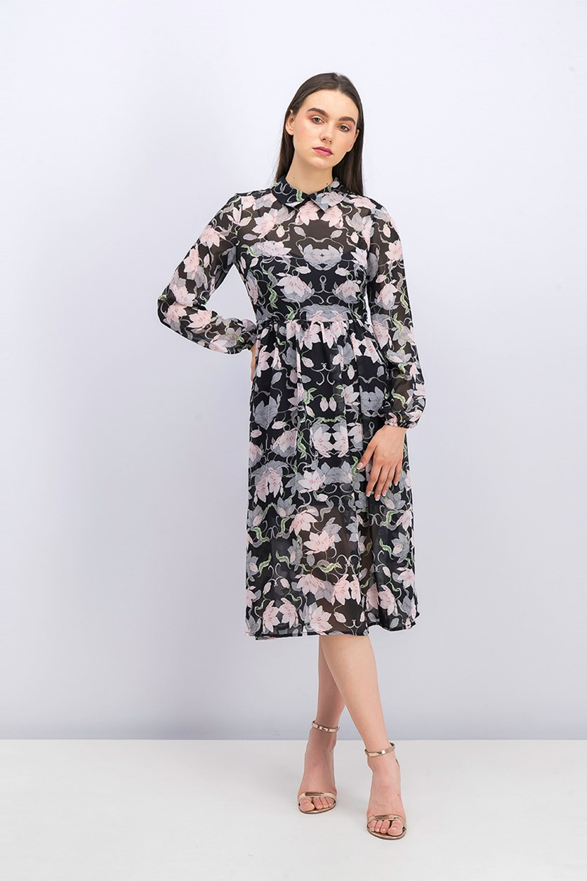 Floral Long-Sleeve Dress, Black Combo