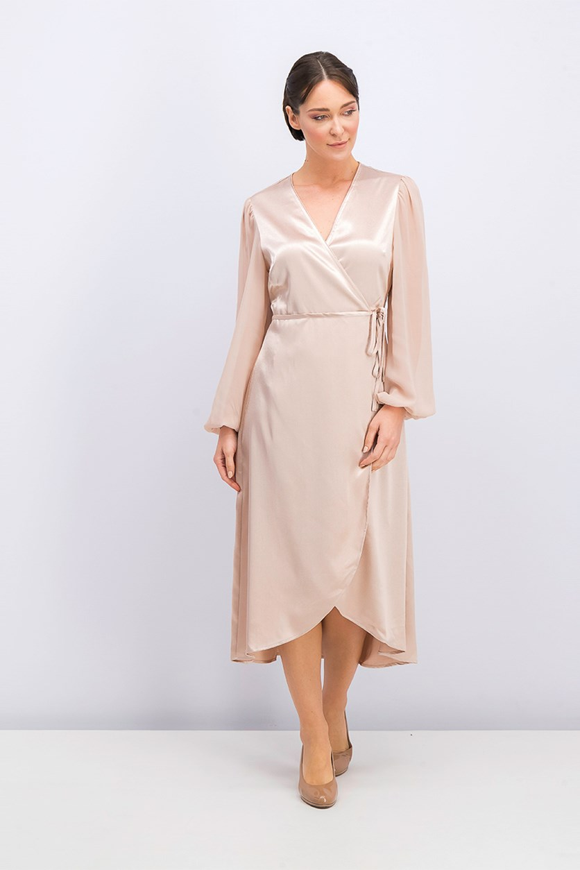Satin Wrap Dress, Blush