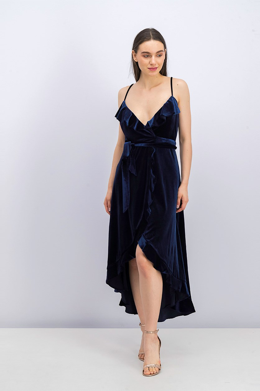 Women's Velvet Wrap Dress, Navy