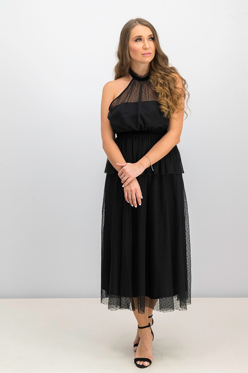 Mock Neck Tulle Dress, Black