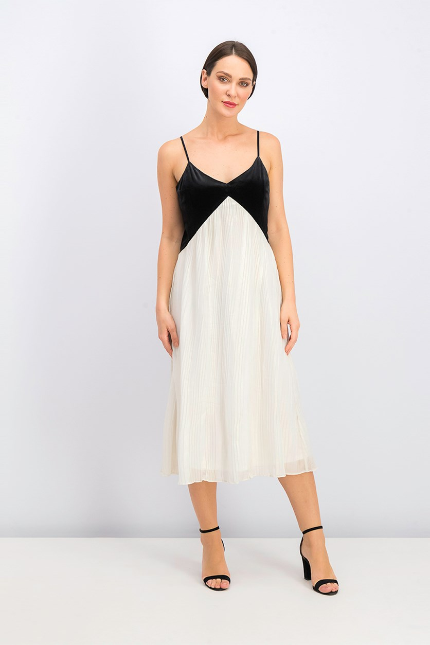 Velvet Bodice Pleated Dress, Ivory/Black