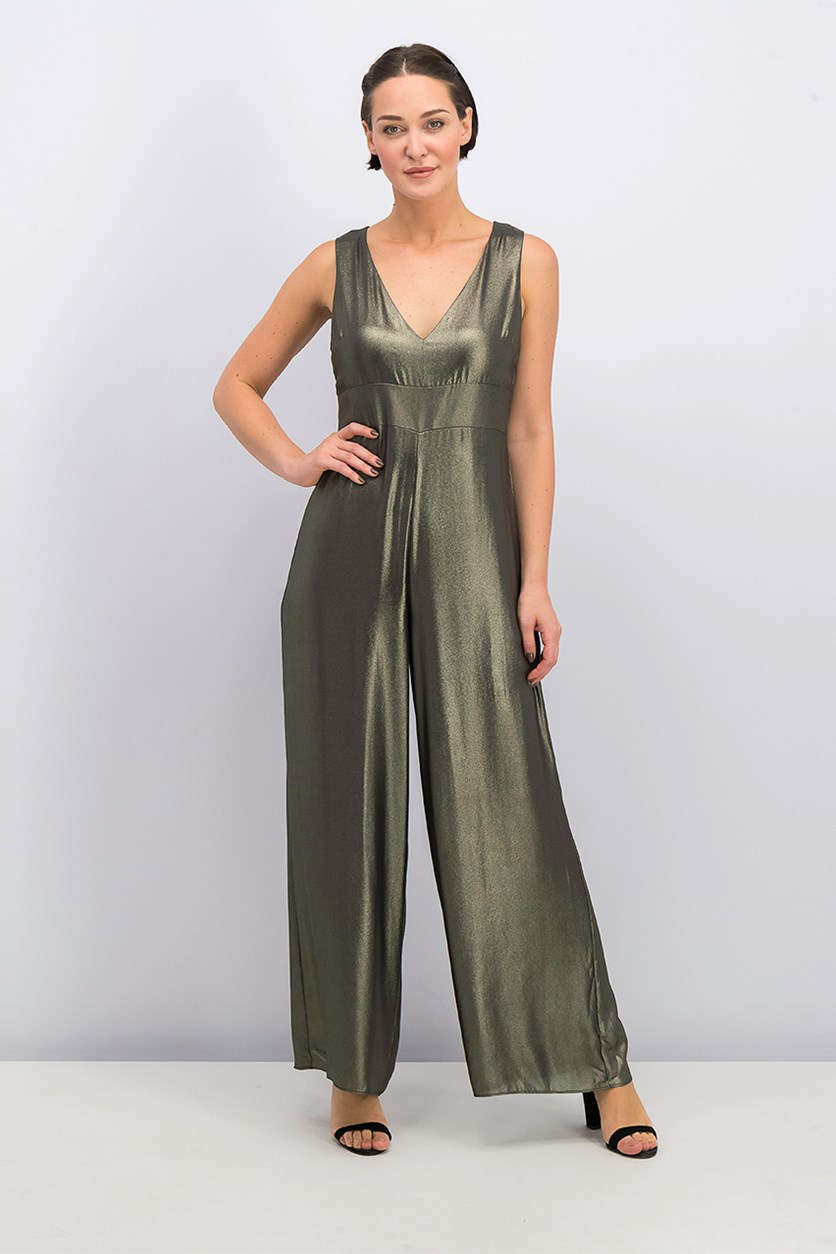 Women's Sleeveless Jumpsuit, Metallic